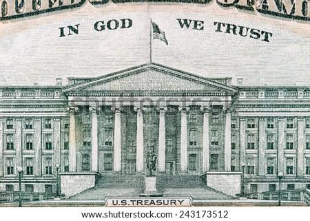US Dollar bill, super macro, close up photo - stock photo