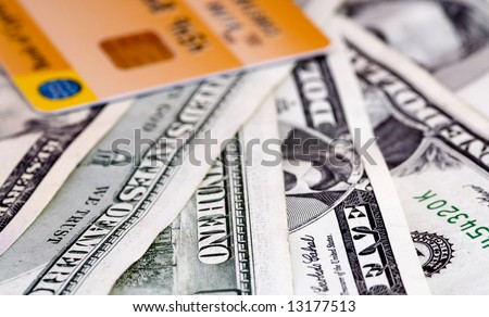 US dollar money and credit  Card - stock photo