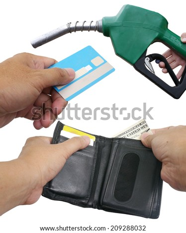 US $ Dollar Money , ATM , in your wallet , Fuel dispenser - stock photo