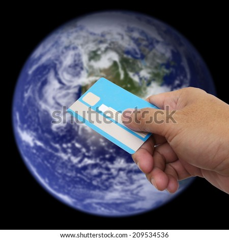 US $ Dollar Money , ATM , in your wallet on earth background.  Element of this image furnished by NASA  - stock photo