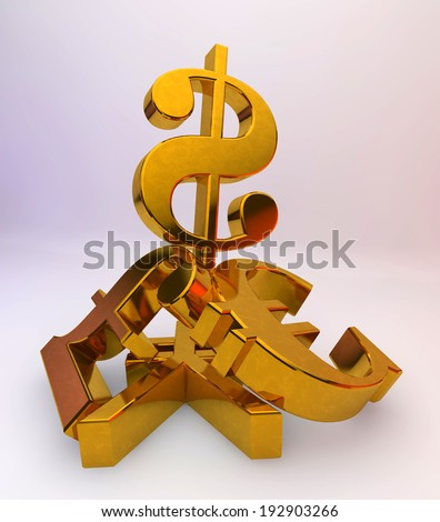 US dollar over a pile of Pound, Euro,Yen.Concept for financial power - stock photo