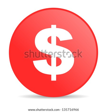 us dollar red circle web glossy icon