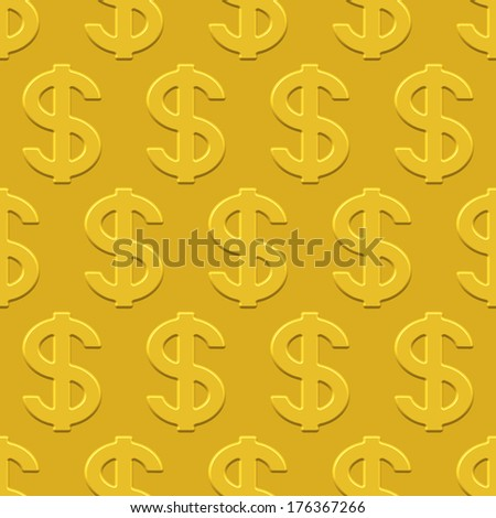 US Dollar seamless pattern on a gold plate  - stock photo
