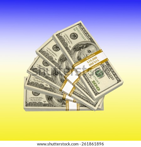US Dollar stacks over Ukrainian flag background gradient. Reform concept (make changes in (something, typically a social, political, or economic institution or practice) in order to improve it) - stock photo