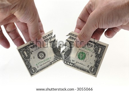 US Dollar, torn - stock photo