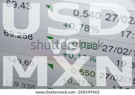 US dollar versus Mexican peso (MXN) - stock photo