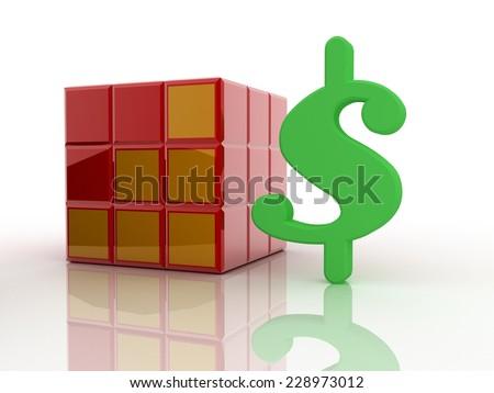 us dollar with cube stock photo - stock photo