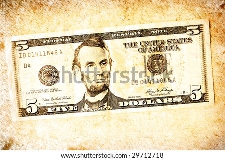 US dollar with old textured paper
