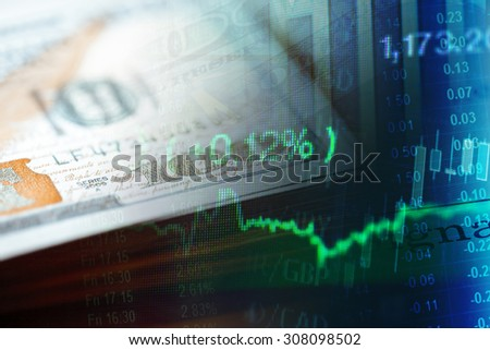 US dollars and finance graph. Finance concept. - stock photo