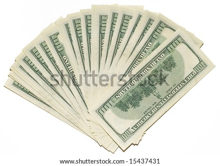 US dollars background made from lots of hundred bills - stock photo