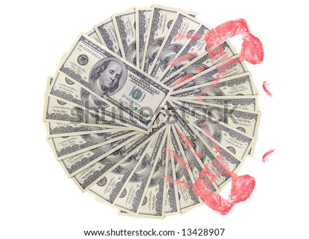 US dollars background made from lots of hundred bills and human hands print - stock photo