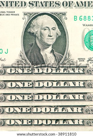 US dollars background made from lots of one bills - stock photo