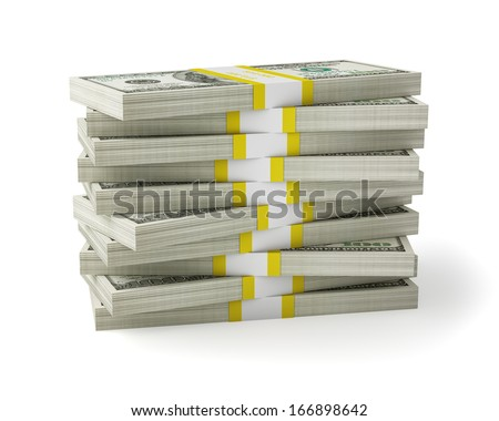 US dollars banknotes money stack on white - stock photo