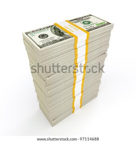 US dollars banknotes money stack on white - stock photo