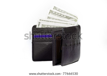 US dollars in a black wallet isolated on white background - stock photo