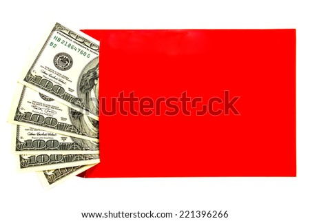 US dollars in an envelope isolated on white background - stock photo