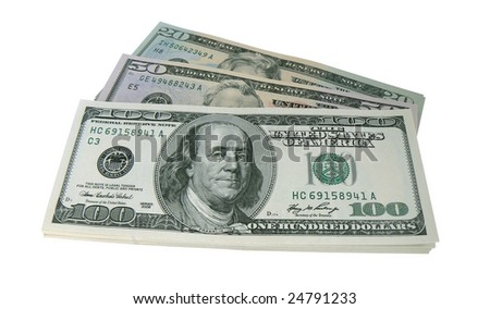 US dollars. Isolated in white background