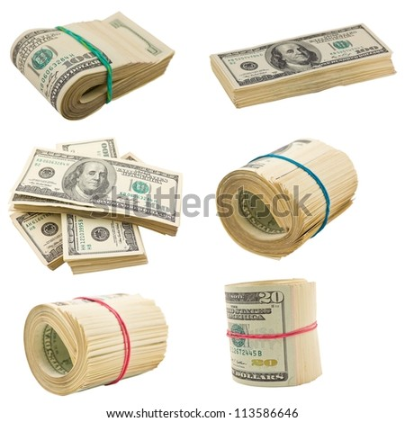 us dollars isolated on a white