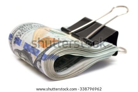 US dollars on a white background