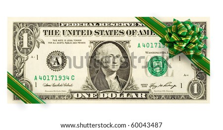 US dollars with green bow close-up isolated on white background