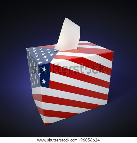 US elections - ballot box with flag colors