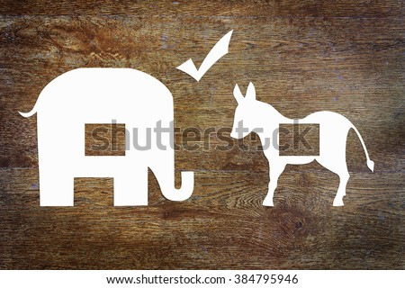 US Elections. Conceptual image with paper scrapbooking - stock photo