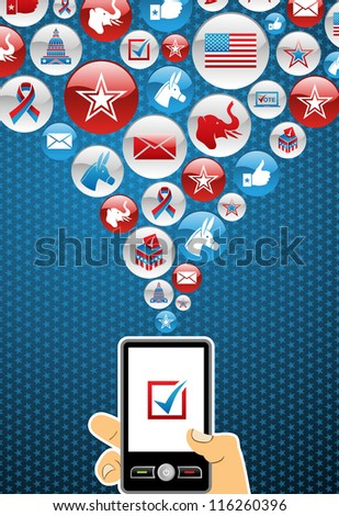 US elections online voting: hand holding a smartphone with glossy icons splash background.