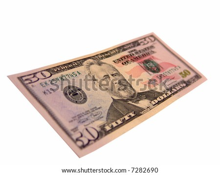US Fifty Dollar Bills, Ulysses Grant (Isolated) - stock photo