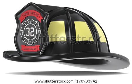 US Firefighter Helmet. Firefighter Helmet. Black with badge. Isolated. - stock photo