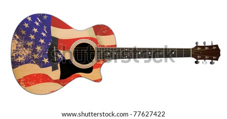 us flag acoustic guitar with clipping path - stock photo
