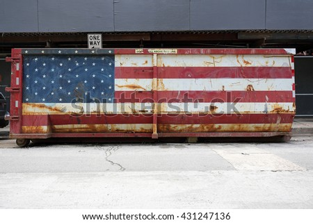 US flag colored industrial garbage skip - stock photo