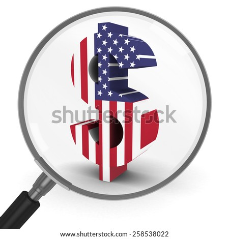 US Flag Dollar Symbol under a Magnifying Glass - stock photo