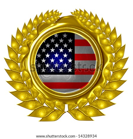 US flag in a wreath - stock photo