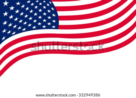 US flag isolated on white background