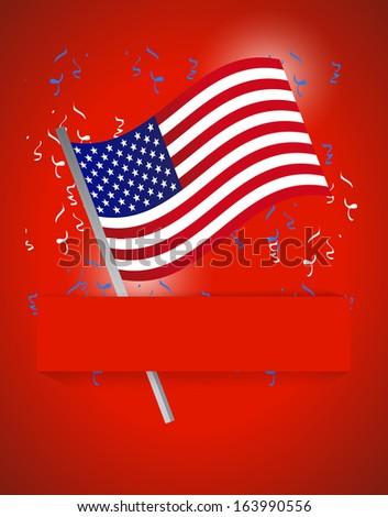 us flag patriotic background illustration design over red - stock photo