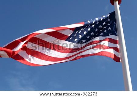US flag shot in denmark - stock photo