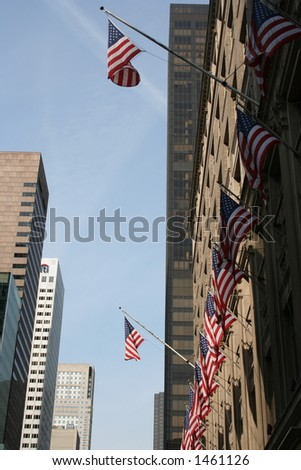 US Flags in downtown Manhattan