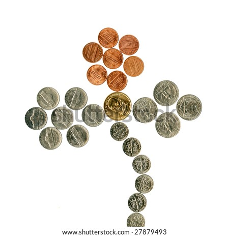 US flower of coins. Isolated over white.