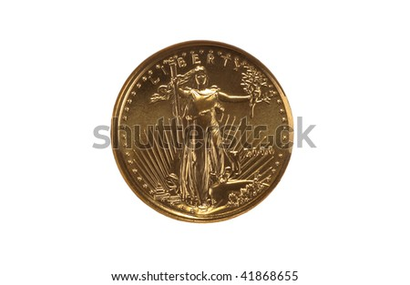 US gold coin obverse - stock photo