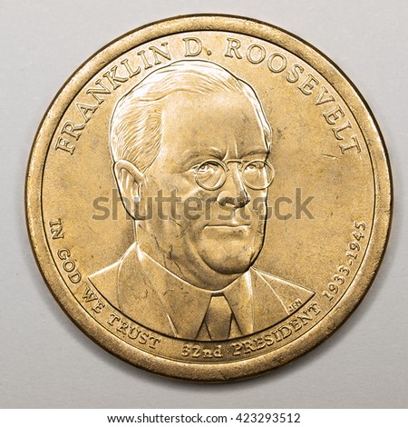 US Gold Presidential Dollar Featuring Franklin D Roosevelt - stock photo
