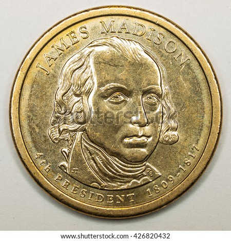 US Gold Presidential Dollar Featuring James Madison - stock photo