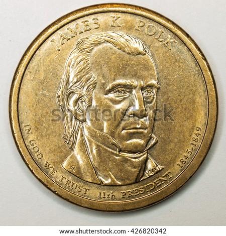 US Gold Presidential Dollar Featuring James Polk - stock photo
