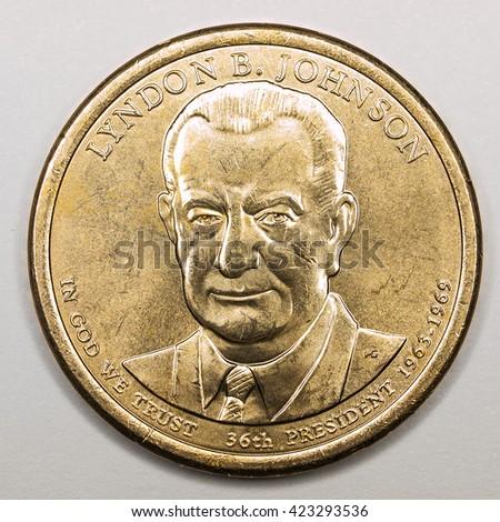 US Gold Presidential Dollar Featuring Lyndon B Johnson - stock photo