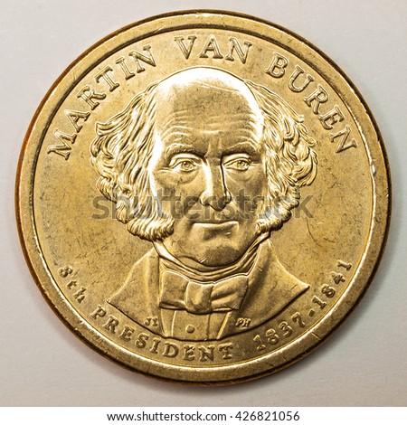 US Gold Presidential Dollar Featuring Martin Van Buren - stock photo