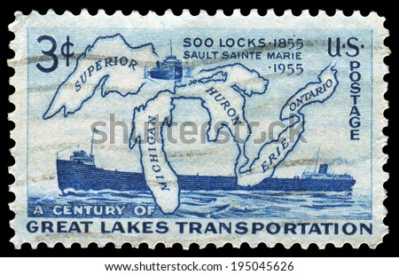 US-1955: Great Lakes Transportation, Issued by USPS in 1955, for the Centenary of Soo Locks Opening. Canceled in usage.