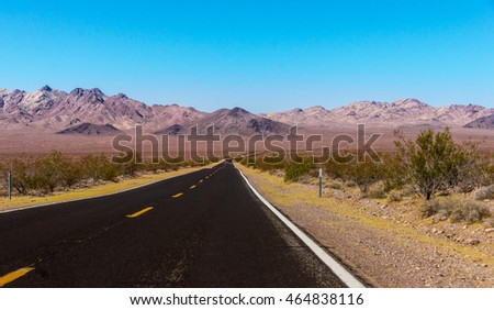 US Highway , California - Picture made on a motorcycle road trip through western USA