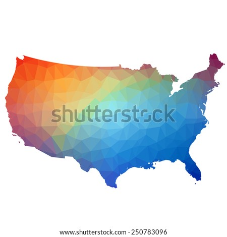 US in color triangle. Raster 3 Raster - stock photo