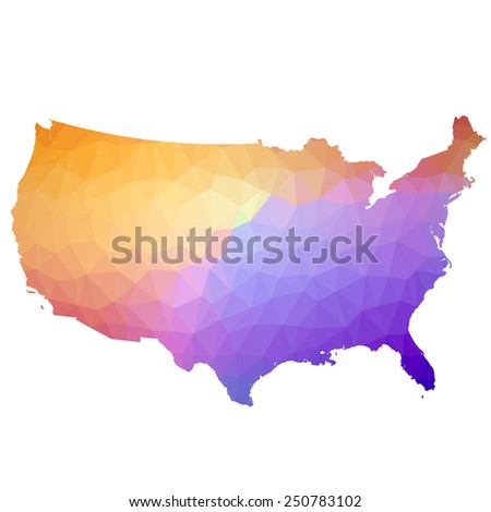US in color triangle. Raster 6 Raster - stock photo