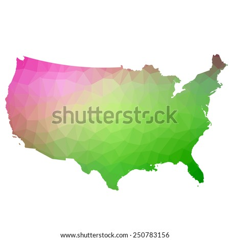 US in color triangle. Raster 5 Raster - stock photo