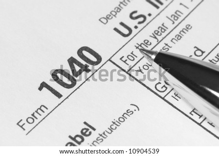 US Income Tax Form 1040 - stock photo